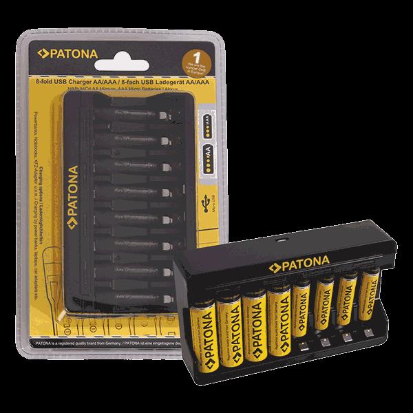 8-fach Ladegerät für Mignon AA und AAA Batterien von Patona front
